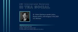 IR Tea Social – Dr. Valerie Sperling