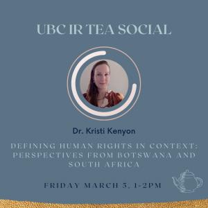IR Tea Social – Dr. Kristi Kenyon